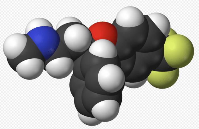 Estrutura química da fluoxetina um Inibidor selectivo da recaptação da serotonina